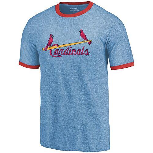 Men's Majestic Threads Light Blue St. Louis Cardinals Ringer Tri-Blend T-Shirt