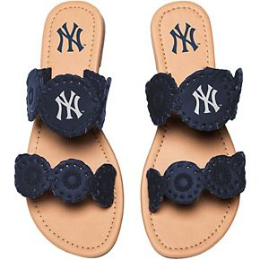 Women's New York Yankees Double Strap Whip Stitch Sandals