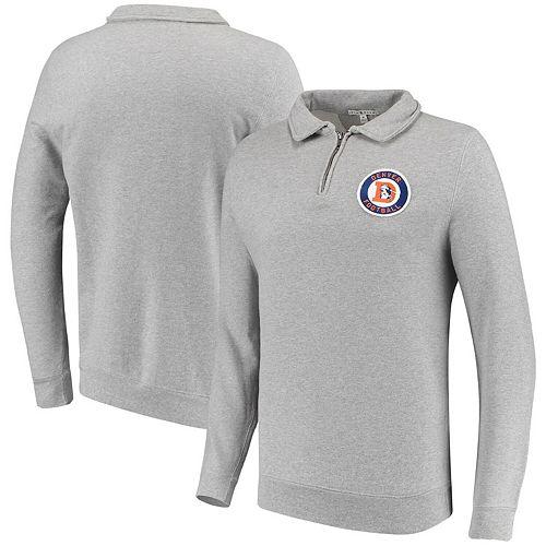 Men's Junk Food Heathered Gray Denver Broncos Sideline Quarter-Zip Pullover Sweater