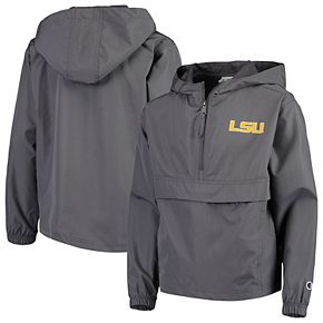 Youth Champion Graphite LSU Tigers Pack & Go Windbreaker Jacket