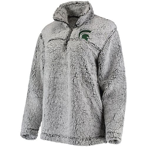 Women's Gray Michigan State Spartans Sherpa Super Soft Quarter-Zip Pullover Jacket
