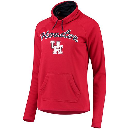 Women's Red Houston Cougars Funnel Neck Pullover Sweatshirt