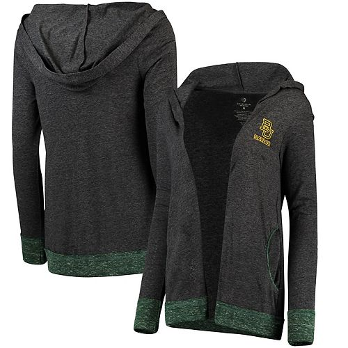 Women's Colosseum Charcoal Baylor Bears Steeplechase Open Hooded Tri-Blend Cardigan