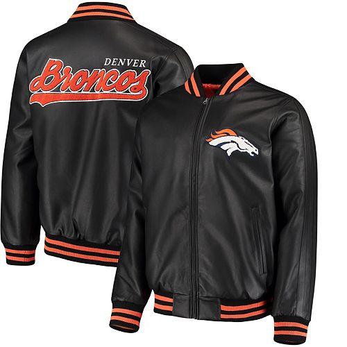 Men's G-III Sports by Carl Banks Black Denver Broncos Stiff Arm Pleather Varsity Jacket