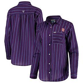 Clemson Tigers Columbia Women's Sun Drifter Vertical Stripe Button-Down Shirt - Purple