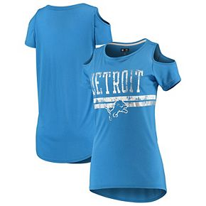 Women's G-III 4Her by Carl Banks Blue Detroit Lions Clear the Bases Scoopneck T-Shirt