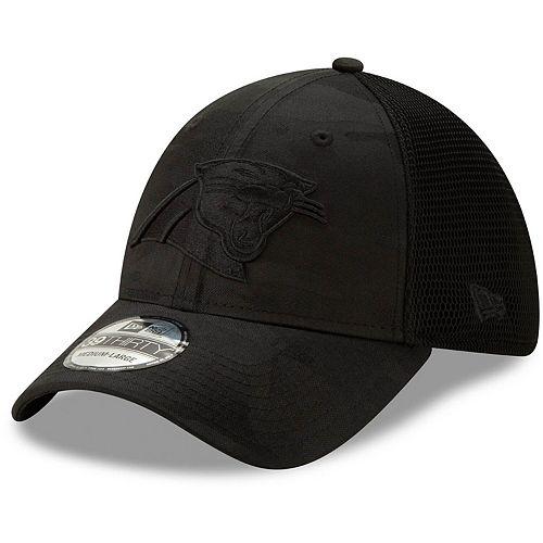 Men's New Era Black Carolina Panthers Camo Front Neo 39THIRTY Flex Hat
