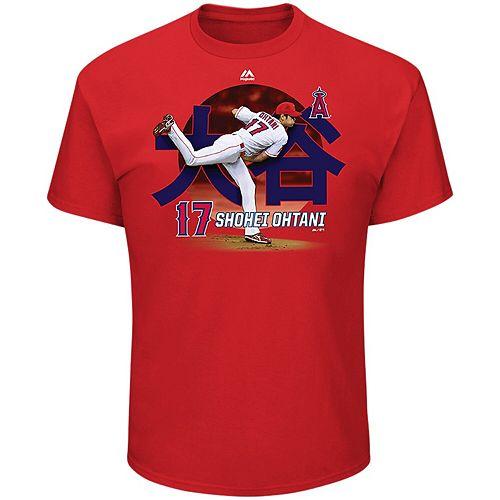 Men's Majestic Shohei Ohtani Red Los Angeles Angels Illustrative Player T-Shirt