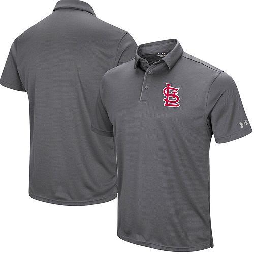 Men's Under Armour Gray St. Louis Cardinals UA Tech Left Chest Polo