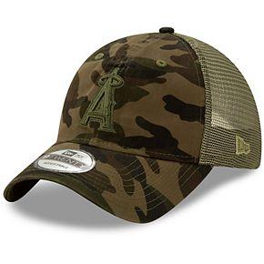 Men's New Era Camo Los Angeles Angels Tonal Logo Trucker 9TWENTY Adjustable Snapback Hat