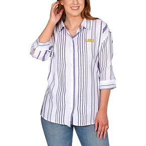 Women's White LSU Tigers Missy Striped Button-Up 3/4-Sleeve Shirt