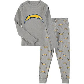 Preschool Heathered Gray Los Angeles Chargers Long Sleeve T-Shirt & Pants Sleep Set
