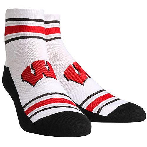 Men's White Wisconsin Badgers Classic Stripes Quarter-Length Socks