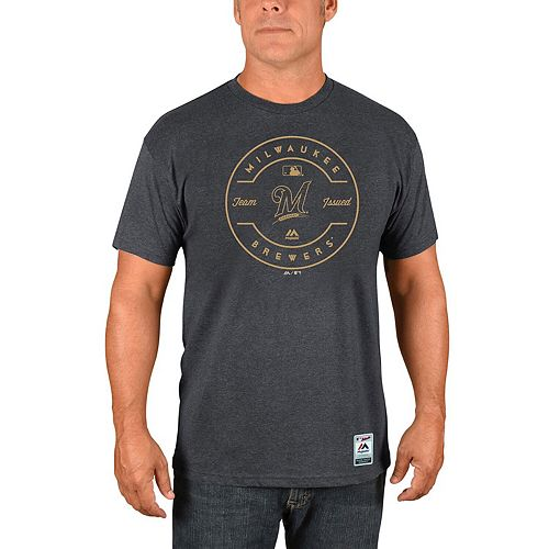 Men's Majestic Heathered Charcoal Milwaukee Brewers Authentic Collection Clubhouse Team Issue T-Shirt