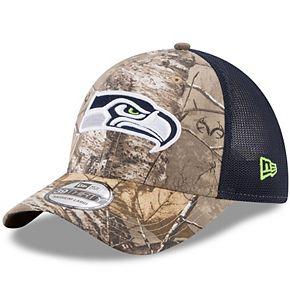 Men's New Era Realtree Camo/College Navy Seattle Seahawks Trucker 39THIRTY Flex Hat