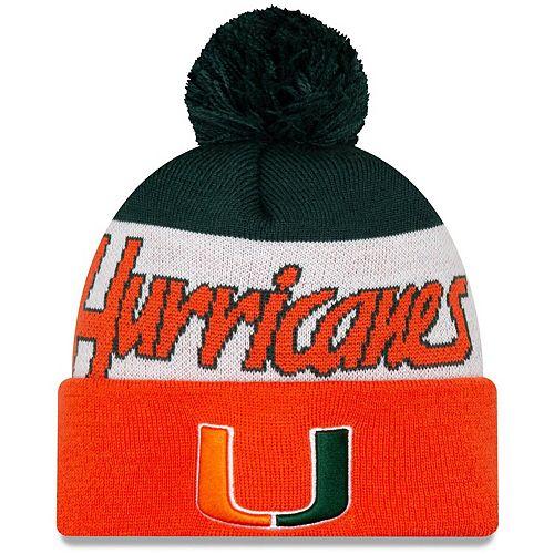 Men's New Era Orange Miami Hurricanes Script Cuffed Knit Hat with Pom