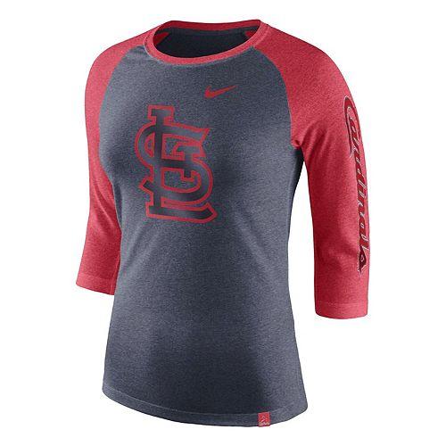 Women's Nike Navy St. Louis Cardinals Tri-Blend 3/4-Sleeve Raglan T-Shirt