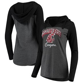 Women's Charcoal Washington State Cougars Knockout Color Block Hooded Long Sleeve V-Neck T-Shirt