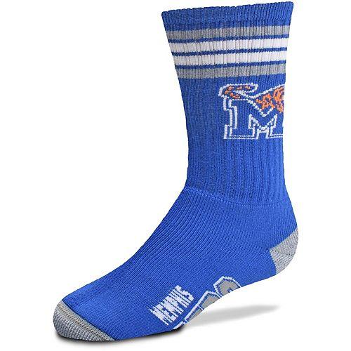 Youth For Bare Feet Memphis Tigers 4-Stripe Deuce Crew Socks