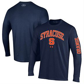 Men's Under Armour Navy Syracuse Orange Arched Two-Hit Performance Long Sleeve T-Shirt