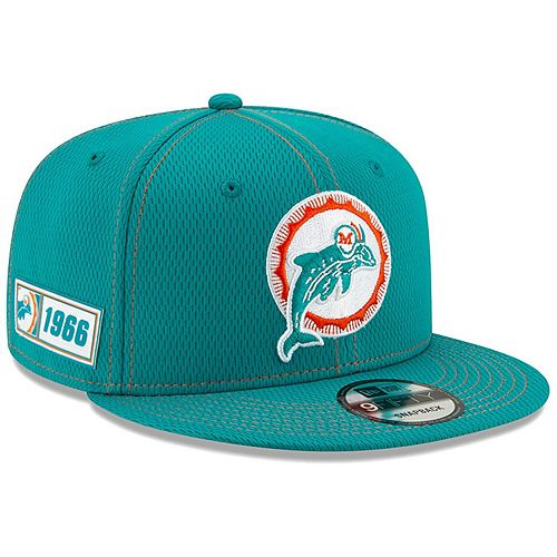 Youth New Era Aqua Miami Dolphins 2019 NFL Sideline Road 9FIFTY Snapback Adjustable Hat