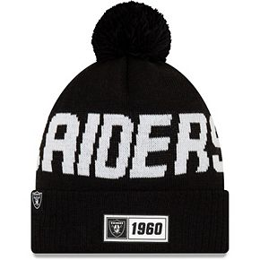 Men's New Era Black Oakland Raiders 2019 NFL Sideline Road Sport Knit Hat