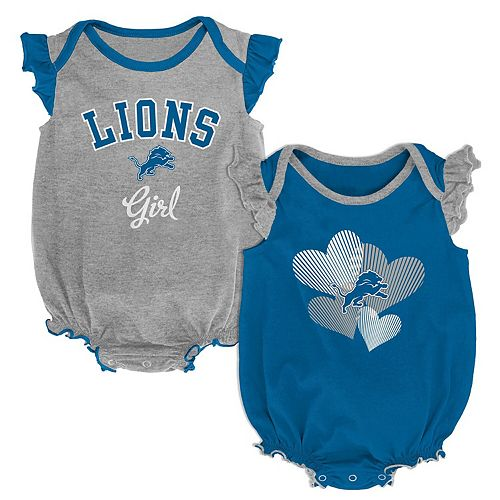 Girls Infant Blue/Silver Detroit Lions Homecoming Celebration 2-Piece Bodysuit Set