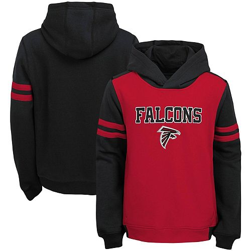 Youth Red Atlanta Falcons Retro Colorblock Pullover Hoodie