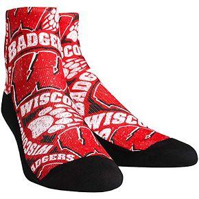 Youth Wisconsin Badgers Logo Sketch Quarter-Length Socks