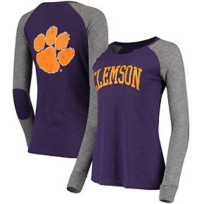 Women's Purple/Gray Clemson Tigers Preppy Elbow Patch 2-Hit Arch and Logo Long Sleeve T-Shirt