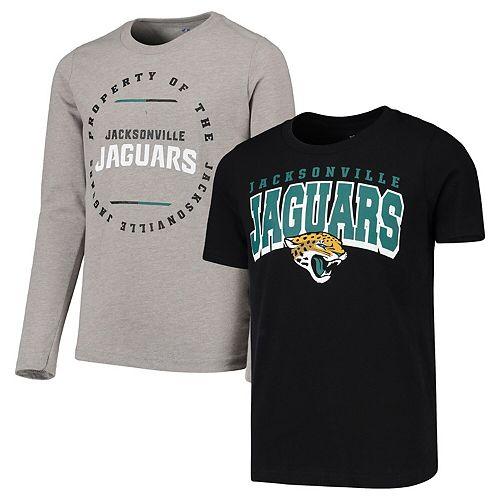 Youth Black/Heathered Gray Jacksonville Jaguars Club Short Sleeve & Long Sleeve T-Shirt Combo Pack