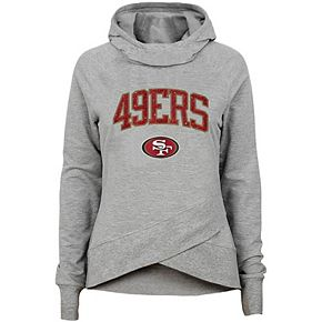Youth Heathered Gray San Francisco 49ers Glam Girl Funnel Neck Pullover Hoodie