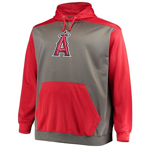 Men's Majestic Charcoal/Red Los Angeles Angels Fleece Hoodie