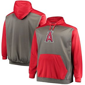 Men's Majestic Charcoal/Red Los Angeles Angels Fleece Hoodie