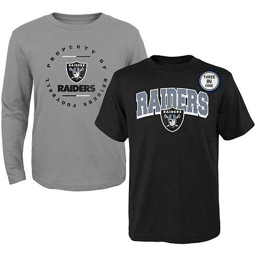 Youth Black/Heathered Gray Oakland Raiders Club Short Sleeve & Long Sleeve T-Shirt Combo Pack