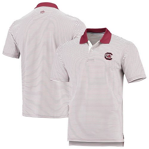 Men's Southern Tide White/Garnet South Carolina Gamecocks Pique Stripe Polo