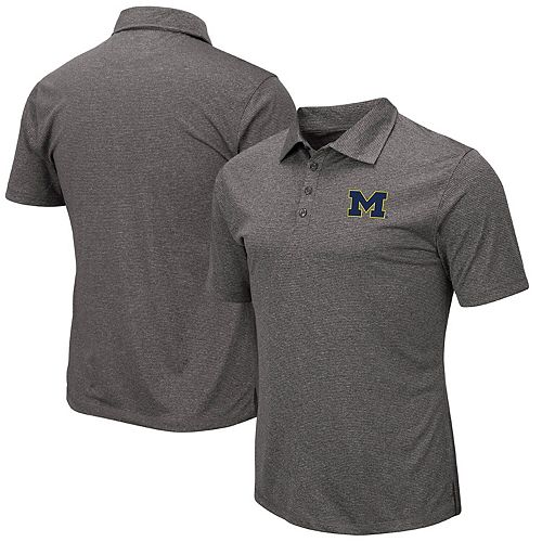 Men's Colosseum Gray Michigan Wolverines Adventurer Microstripe Polo