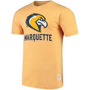 Men's Original Retro Brand Heathered Gold Marquette Golden Eagles Tri-Blend T-Shirt