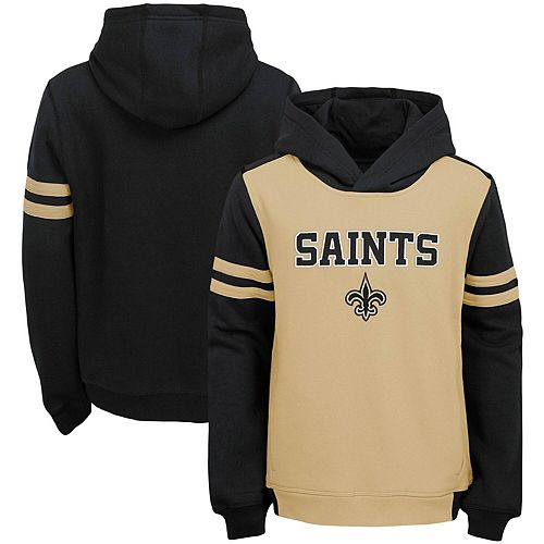 Youth Gold New Orleans Saints Retro Colorblock Pullover Hoodie