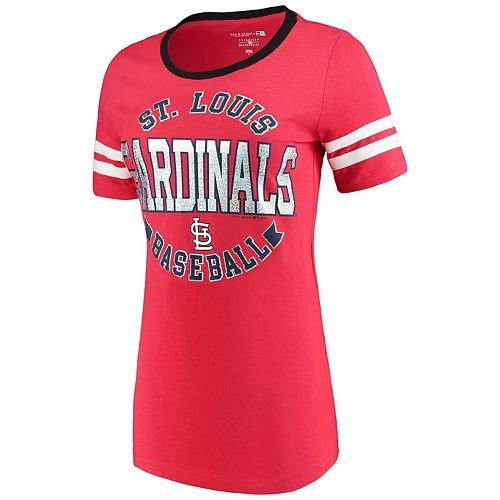 Women's 5th & Ocean by New Era Red St. Louis Cardinals Slub Jersey Scoop Neck Sleeve Stripes T-Shirt