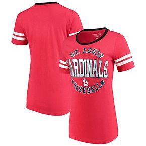 Women's 5th & Ocean by New Era Red St. Louis Cardinals Slub Jersey Scoop Neck Sleeve Stripes T-Shirt