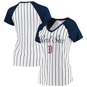 Women's Concepts Sport White/Navy Boston Red Sox Vigor Pinstripe T-Shirt