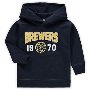 Toddler Soft as a Grape Navy Milwaukee Brewers Wordmark Pullover Hoodie