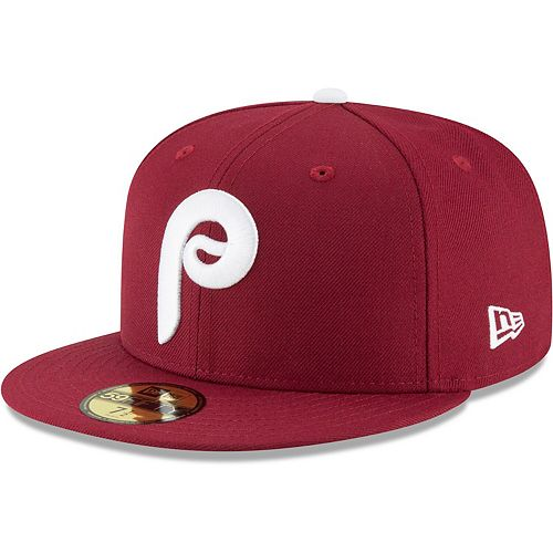 Men's New Era Maroon Philadelphia Phillies Cooperstown Collection Wool 59FIFTY Fitted Hat