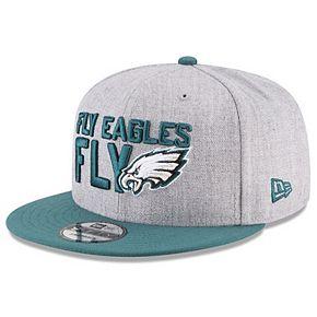 Men's New Era Heather Gray/Green Philadelphia Eagles 2018 NFL Draft Official On-Stage 9FIFTY Snapback Adjustable Hat