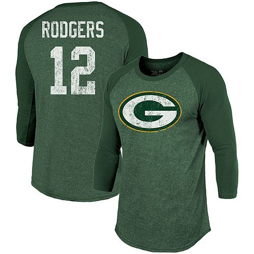 Men's Majestic Threads Aaron Rodgers Green Green Bay Packers Player Name & Number Tri-Blend 3/4-Sleeve Raglan T-Shirt