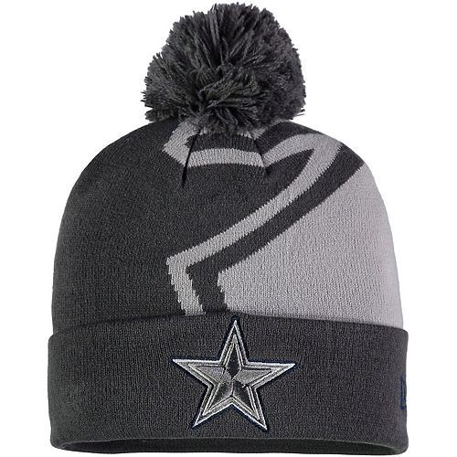 Youth New Era Gray Dallas Cowboys Team Logo Whiz 3 Cuffed Knit Hat with Pom
