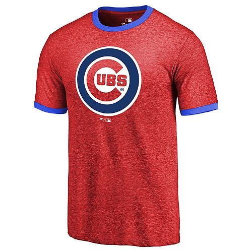 Men's Fanatics Branded Red Chicago Cubs Refresh Ringer Team Wordmark T-Shirt