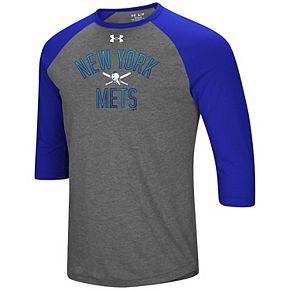 Men's Under Armour Heathered Gray/Royal New York Mets Tri-Blend Cooperstown Crossed Bats 3/4-Sleeve Raglan Performance T-Shirt