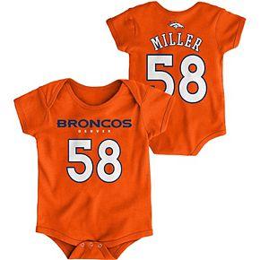 Infant Von Miller Orange Denver Broncos Mainliner Name and Number Bodysuit